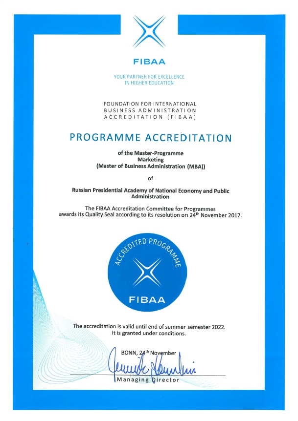 FIBAA Certificate Marketing